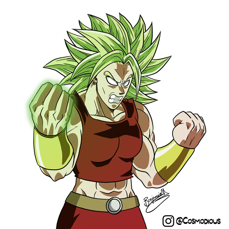 Legendary Super Saiyan Kale from Dragon Ball Super. An extremely muscular women with no pupils and excessively spiky green hair.